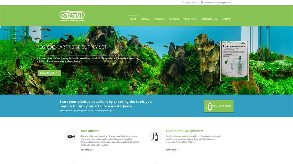 Desenvolvimento de site de empresa americana de produtos para aquário